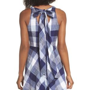 Eliza J Check fit and flare dress with tie bow 8
